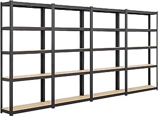Yaheetech Lot de 4 Étagères de Garage 180 x 90 x 30 cm Étagères de Rangement pour Atelier/Cuisine/Bricolage Charge Lourde ...