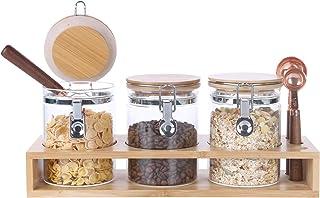 KKC Le pot de stockage en verre scellé convient au sucre, au sel, au thé, aux grains de café, aux pâtes, aux fruits secs, ...