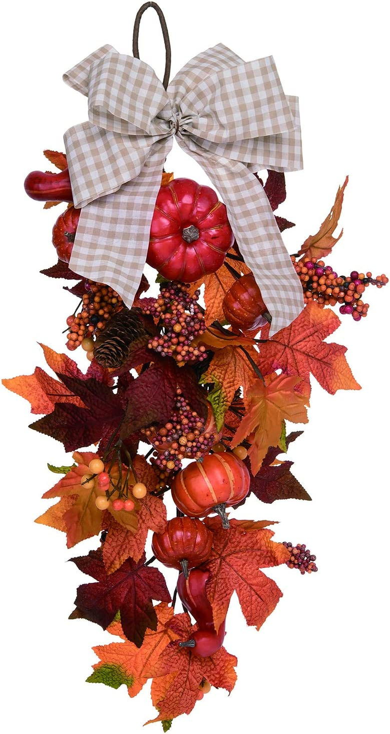 Orchid Ivy 26-Inch Rustic Fall Leaves Wreath with Swag Branded outlet goods an