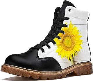 LORVIES Beau Tournesol sur Table de Texture en Bois Blanc Bottes d'hiver Chaussures Montantes en Toile à Lacets pour Hommes