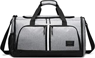 Gym Bags, Waterproof Polyester Oxford Fabric Duffle Bags, Gym Duffle Bag with Wet Pocket & Shoes Compartment for Men Women, Workout Bags Lightweight 45L Travel Duffel Bags for Men - Gray