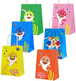 24 PCs Shark Party Bags for Baby Birthday Party Supplies Favors Gift Paper Bags (24 PCs)