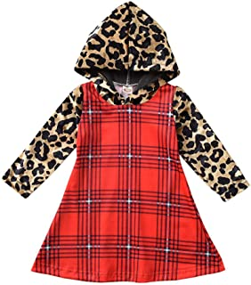 Baby-Girl-Fall-Clothes-Dress Leopard Hoodie Plaid Boutique Clothing for Toddler Christmas Dress Winter Clothes