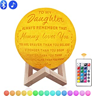 Engraved 3D Moon Lamp for Daughter, 5.9 inch 16 Color Switchable by Remote & Touch Control, USB Rechargeable Night Lights for Wife Bedroom Decoration Birthday Christmas Gift (for Daughter from Mom)