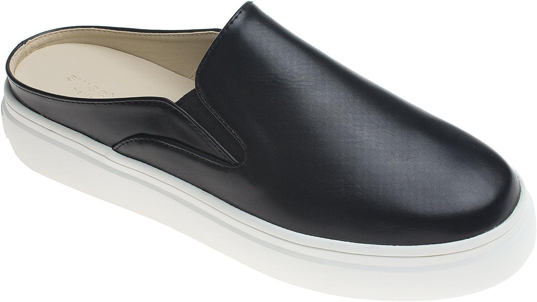AnnaKastle Womens Soft Vegan Leather Comfort Slip ONS Backless Slide Sneaker