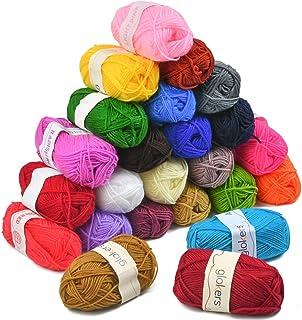 YANSHON Fil à Tricoter à La Main en 24 Couleurs, Fil au Crochet 25g pour Tricoter du Fil de Laine Acrylique, du Fil de Cot...