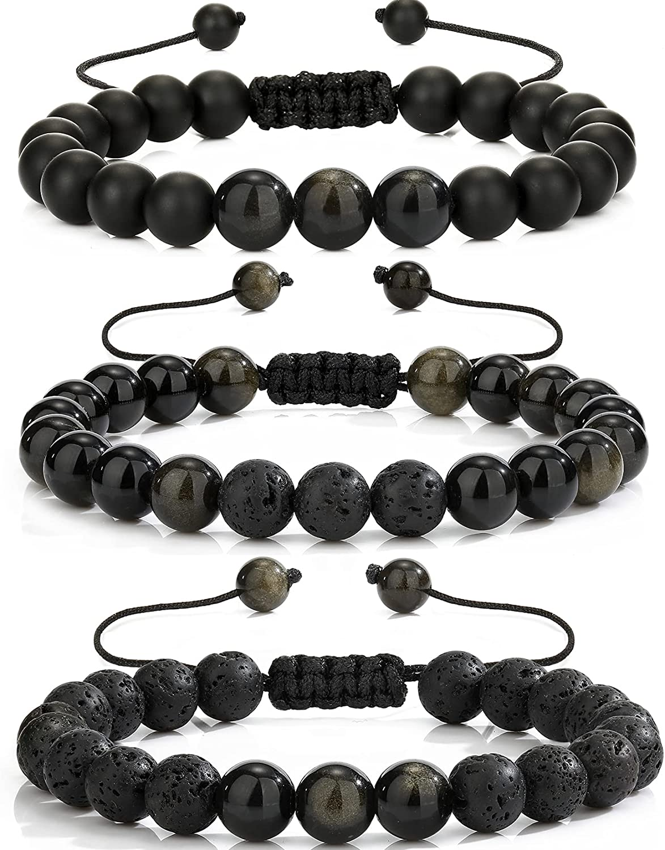 ANUEVO Beads Bracelet for Men Women Stress Relief Lava Rock Natu
