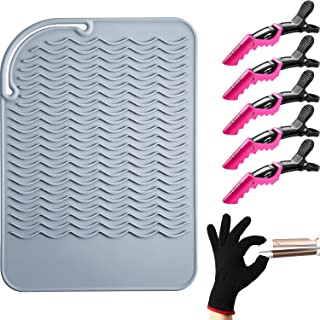 Heat Resistant Styling Mat Curling Iron Mat with Heat Resistant Glove and Non Slip Large Hair Clips for Styling Hair Strai...