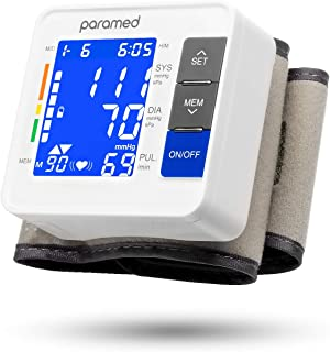 Wrist Blood Pressure Monitor by PARAMED: Automatic Blood-Pressure Kit of Bp Cuff Machine + 2AAA and Carrying Case - Large LCD Display with Backlight and 90 Sets Memory
