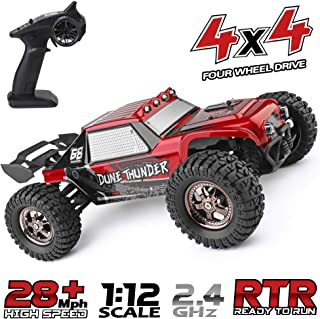 RC Cars Dune Thunder 2.4 GHz 4WD 1/12 Scale Desert Buggy 25 Mph High Speed with LED Lights, Oil Filled Dampers Waterproof Remote Controlled All Terrain Trucks RTR with Rechargeable Battery
