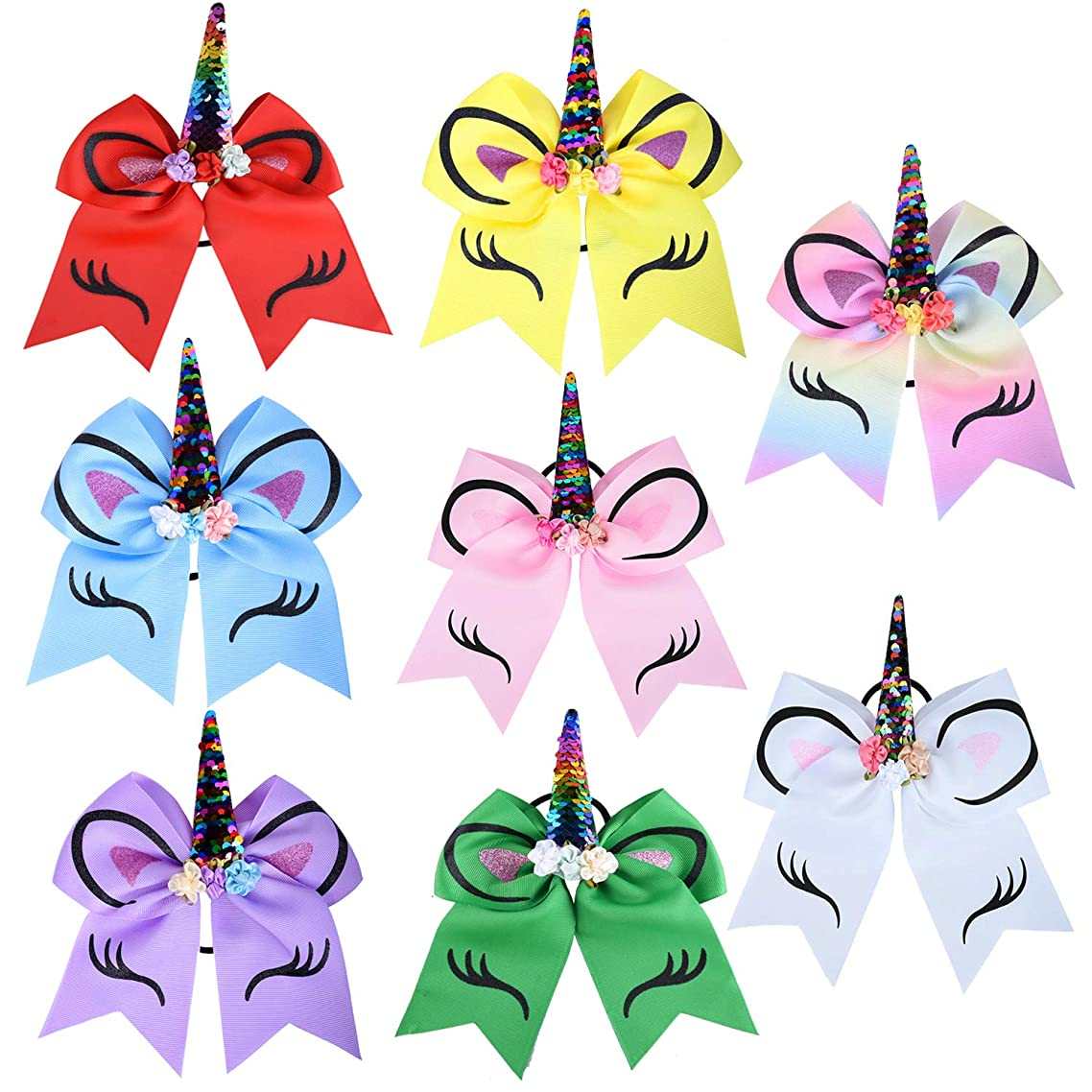 SIQUK 8 Pieces Unicorn Cheer Hair Bow Hair Elastic