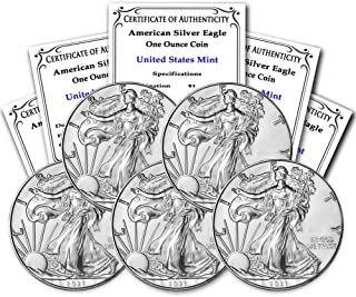 2021 Lot of (5) 1 oz Silver American Eagle Brilliant Uncirculated with Certificate of Authenticity by CoinFolio Mint State