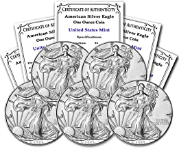 2021 Lot of (5) 1 oz Silver American Eagle Brilliant Uncirculated (Type 1) with Certificate of Authenticity by CoinFolio $...