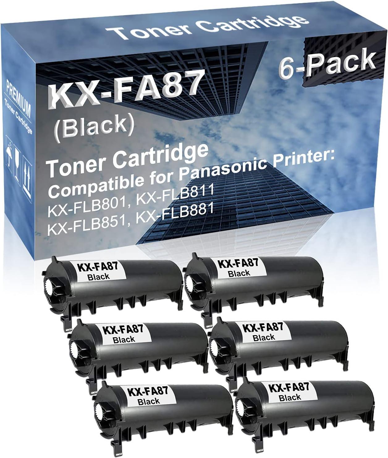 6-Pack Compatible High Yield KX-FLB801, KX-FLB811, KX-FLB851, KX-FLB881 Printer Cartridge Replacement for Panasonic KX-FA87 Toner Cartridge (Black)