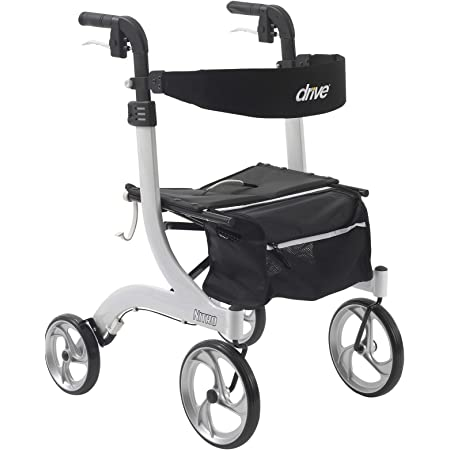 Drive Medical Nitro Euro Style Rollator Walker, Standard Height, White 1 Count