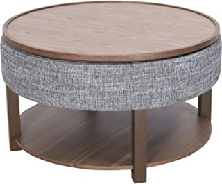 New Pacific Direct Neville Lift-Top Round Storage Coffee Table, Ash Gray/Walnut