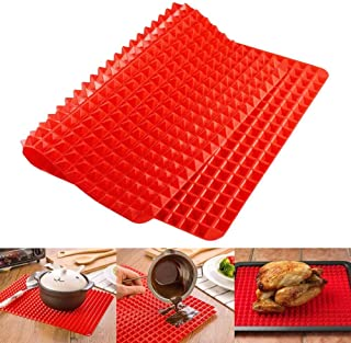 Top Pyramid Pan   16 x 11 inches Large Red Pyramid / Raised Cone Shaped Healthy Silicone Mat for Cooking, Baking and Roasting   Superb Non-Stick Food Grade Silicone   Dishwasher Safe Series