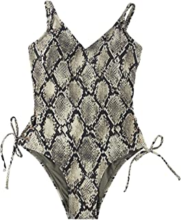 Women's One Piece Swimsuits Snake Print Sexy Backless V Neck Swimsuit