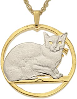 Burmese Cat Pendant Necklace, Isle of Man Coin Hand Cut, 14K Gold & Rhodium Plated, 1 1/4