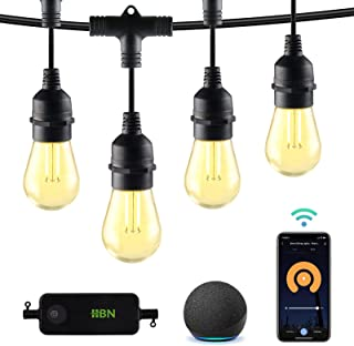 HBN Outdoor String Lights- Smart Outdoor Dimmable Patio Lights LED String Lights- 48ft, 24 Edison...