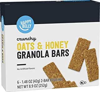 Amazon Brand - Happy Belly Crunchy Oats & Honey Granola Bars, 6 Count