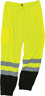 Ergodyne GloWear 8910BK ANSI Black Bottom High Visibility Lime Mesh Reflective Safety Pants, Large/ X-Large