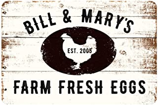 Personalized Farm Fresh Eggs Rustic Barnwood Look Metal Sign