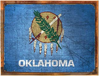 Wood-Framed Oklahoma State Flag Metal Sign, Americana, Rustic Décor on reclaimed, rustic wood