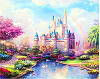 DIY Paint by Numbers for Adults Kids Paint by Numbers Disney Castle DIY Painting Acrylic Paint by Numbers Painting Kit Home Wall Living Room Bedroom Decoration Rainbow Castle