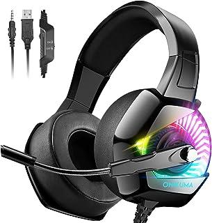 ONIKUMA Auriculares para videojuegos, PS4 con micrófono, sonido envolvente 7.1 y luz LED RGB Xbox One, auriculares para videojuegos, auriculares para PC con cancelación de ruido para PS4, PC, Mac, Xbox One (adaptador no incluido)