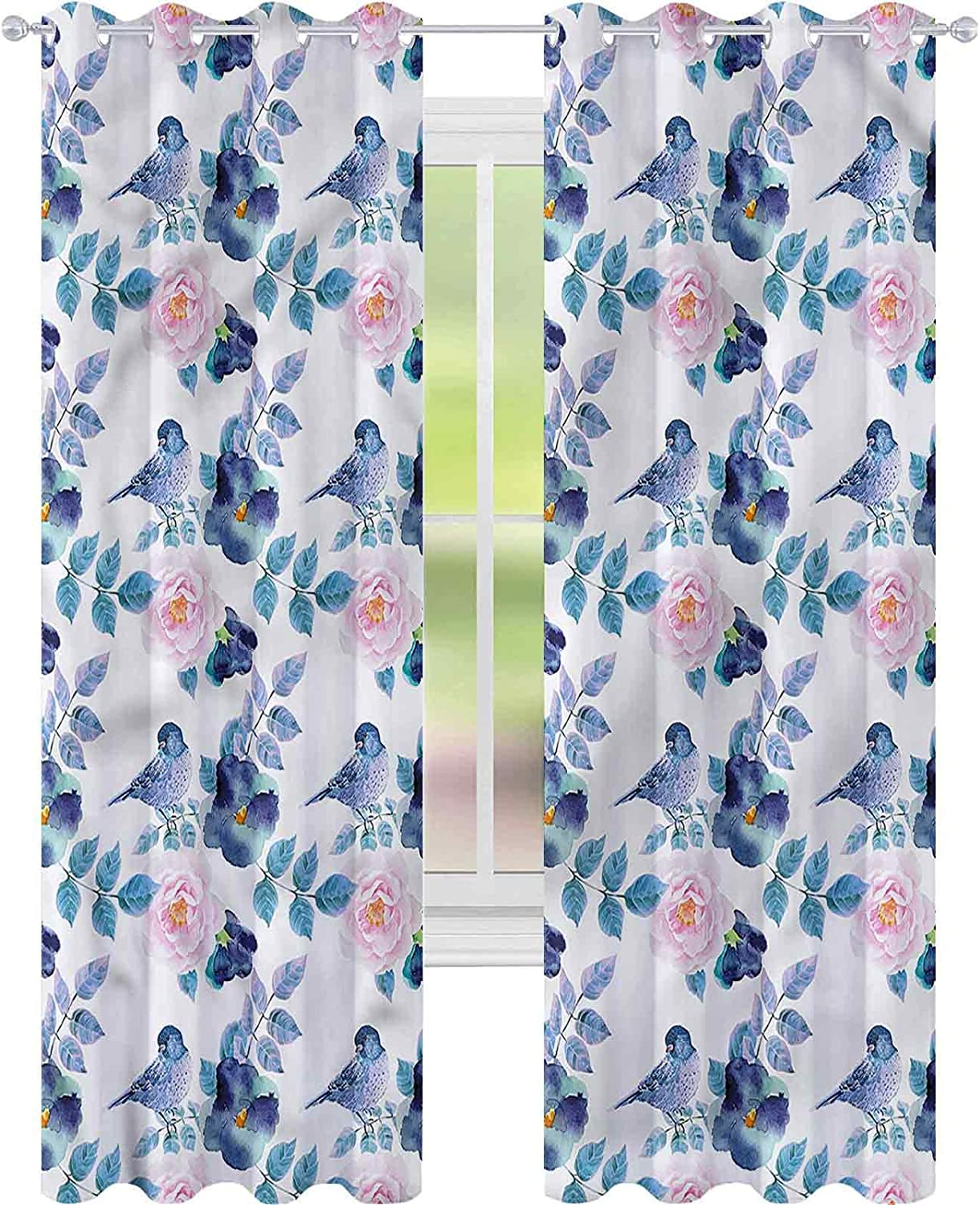 Blackout Window Curtain Animal Spring Challenge the Spring new work lowest price of Japan Sparrow fo W52 Birds L72 x