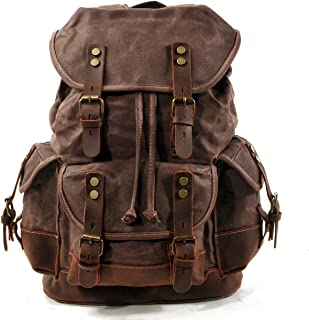 Men Travel Backpack, Genuine Leather-Waxed Canvas Shoulder Hiking Rucksack