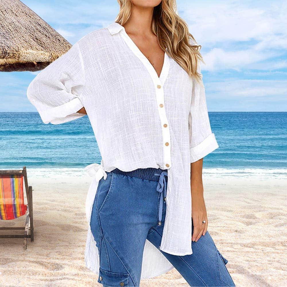 Zwireless Womens Casual Cotton Linen Shirts Plus Size Baggy High Low Blouse Mid-Long Shirts Work Plain Tops