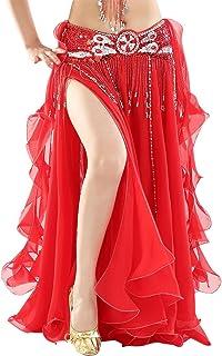 20fa674300c43 BELLYQUEEN Jupe Danse Orientale Longue Femme Costume Danse Classique Jupe  Double Fente sans Ceinture Jupe Danse