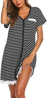 Women's Nightgown Striped Tee Short Sleeve Sleep Nightshirt with Front Pocket
