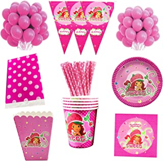 Party Tableware 87pcs Tableware Strawberry Party Decorations Kids Birthday Party Supplies Baby Shower Decoration