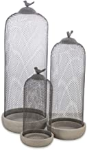 Boho Traders Cement Candle Holder with Mesh Cover, Grey, Pack of 3