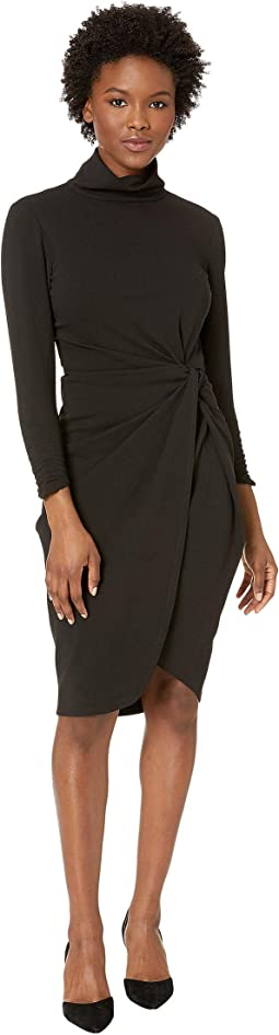 Petite Mock Neck Stretch Sheath Dress