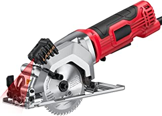 Mini Circular Saw,4.0Amp Compact Electric Circular Saw with Laser Guide, 2 Blades,Max Cutting Depth 48mm(90°), 23mm''(0°-4...