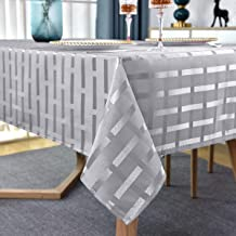 1980/'s polyester damask large white tablecloth  Geometric cube design with flowers  228cm x 144cm; 90 x 57; 7/'6 x 4/'9