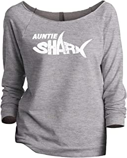 Auntie Shark Women's Fashion Slouchy 3/4 Sleeves Raglan Sweatshirt