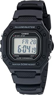 Casio Men's Classic Stainless Steel Quartz Watch with Resin Strap, Black, 21.1 (Model: W-218H-1AVCF)