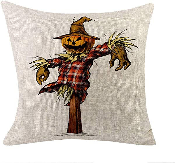 Happy Halloween Pillow Cases 2019 Printed Square Scarecrow Pumpkin Pattern Sofa Throw Cushion Cover Cases 18x18
