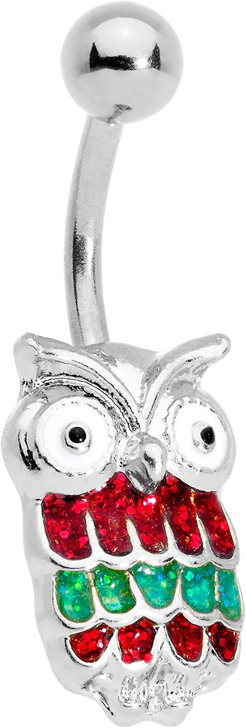 Body Candy 316L Stainless Steel Navel Ring Piercing Red Green Holiday Christmas Owl Belly Button Ring