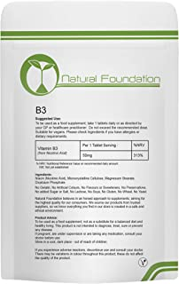 Vitamin B3 Tablets 50mg Supplement for Energy & General Health | Natural Foundation Supplements (1000 Tablets)