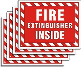 "Uflashmi Fire Extinguisher Inside Sticker, Fire Extinguisher Sign, 4 Pack, 5"" x 4"""