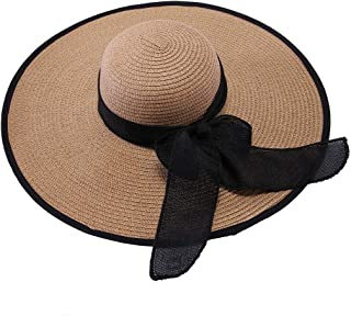 Kusmy Wide Brim Big Bowknot Straw Cap Floppy Foldable Roll up UV Protection Beach Sun Hat for Women