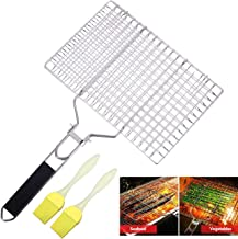 Canovo Fish Grill Basket, Portable Stainless Steel BBQ Grilling Basket with Removable Handle for Fish, Vegetables, Steak, Shrimp, Meat, Food