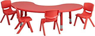 Flash Furniture 35''W x 65''L Half-Moon Red Plastic Height Adjustable Activity Table Set with 4 Chairs