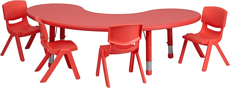 Flash Furniture 35 W X 65 L Half Moon Red Plastic Height Adjustable Activity Table Set With 4 Chairs